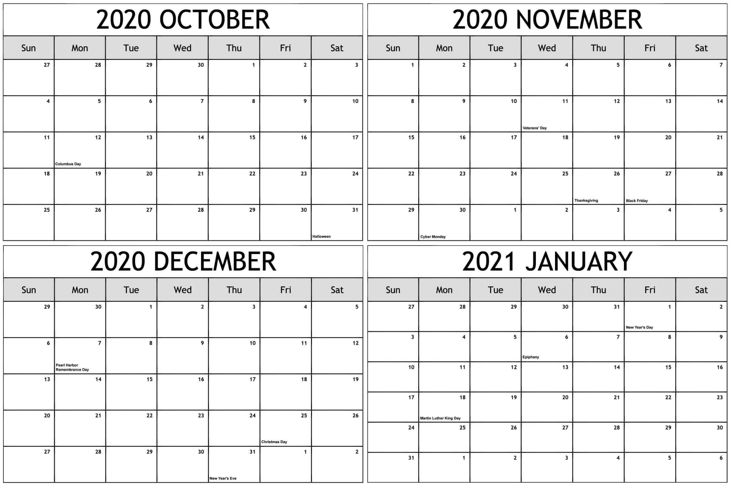 October 2020 To January 2021 Calendar With Holidays In December January February Calendar