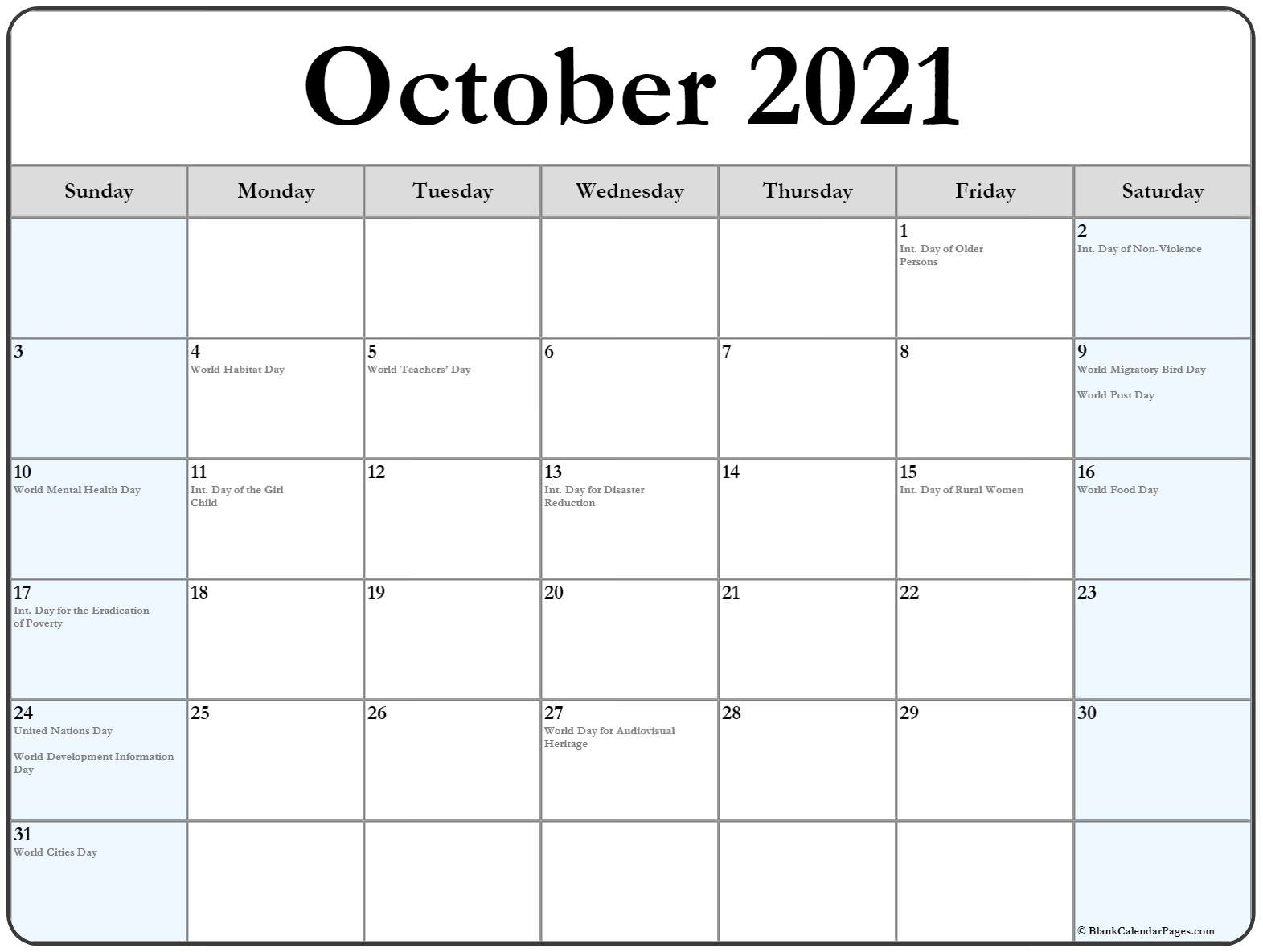 October 2021 Calendar With Holidays - Calendar Template 2021 For Wiki January 2022 Calendar