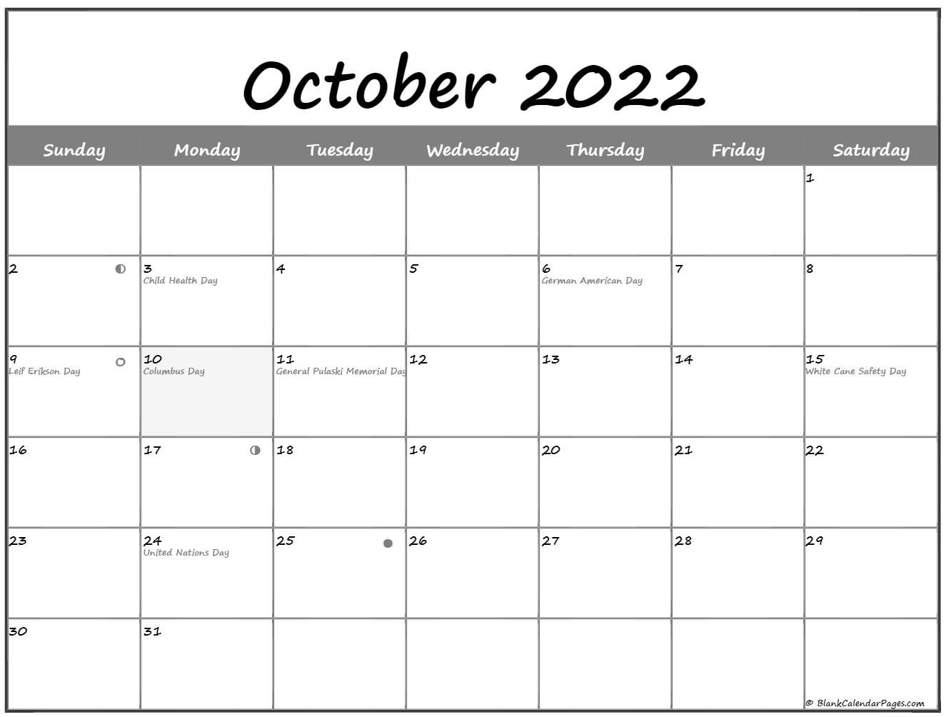 October 2022 Lunar Calendar | Moon Phase Calendar In 2022 Calendar March And April