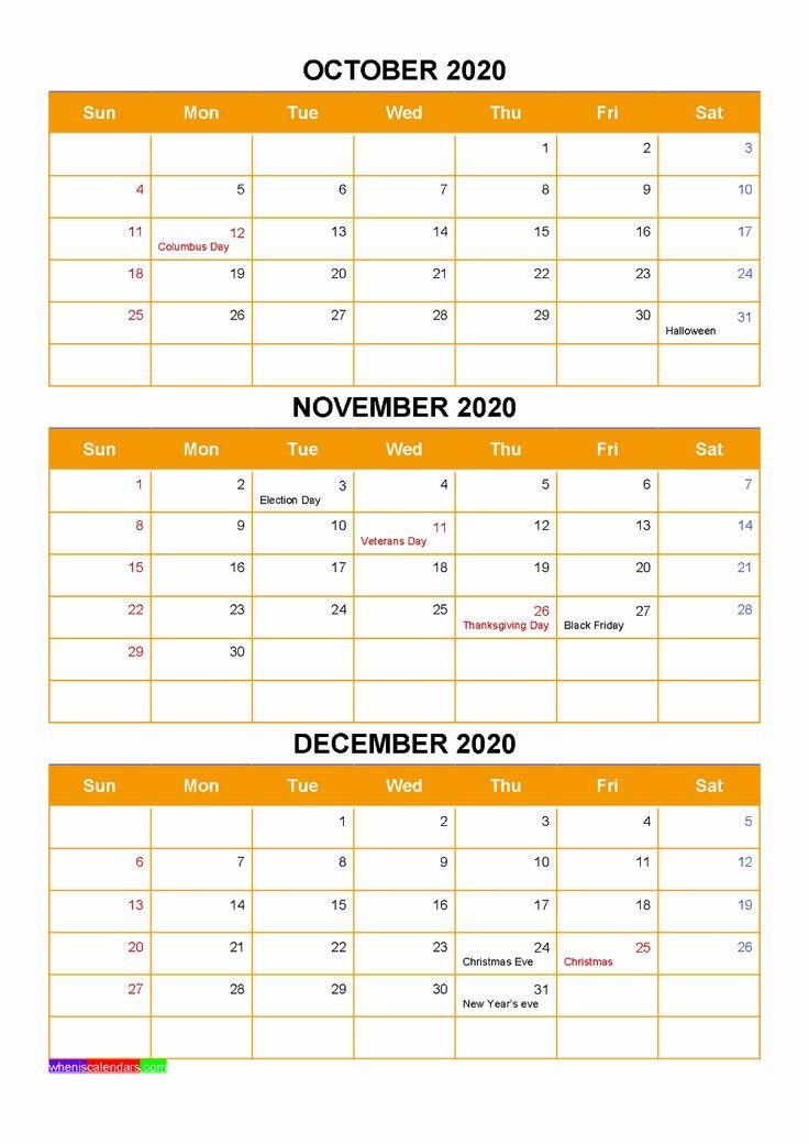 October November December 2020 Calendar With Holidays Word With Regard To December January February Calendar