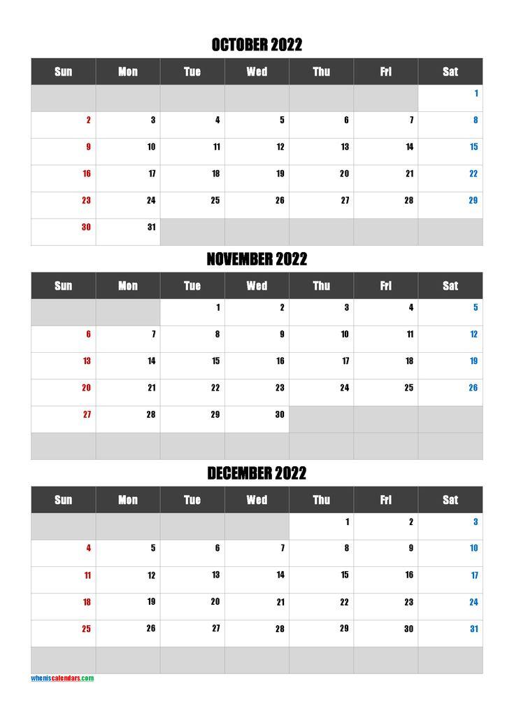 October November December 2022 Calendar Printable Free [Q1 Inside November December January February March Calendars
