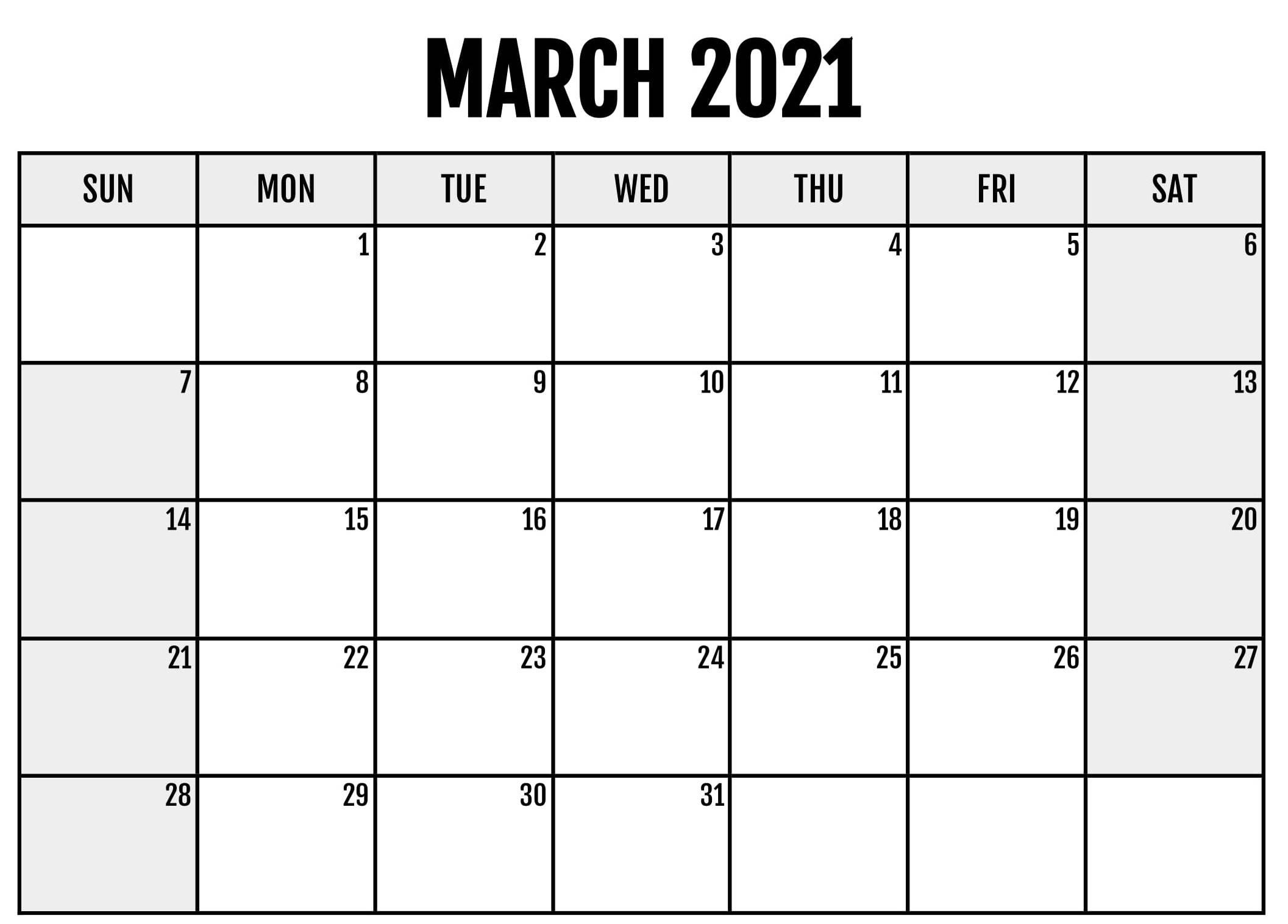 Online Calendar March 2021 Printable Holidays - Business inside March 2021 Calendar Template
