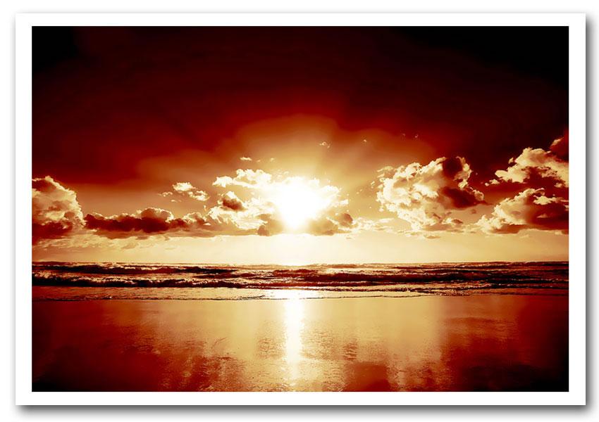 Peach Ocean Sunrise Sunset Framed Art Giclee Art Print Inside Sunset Sunrise Printable