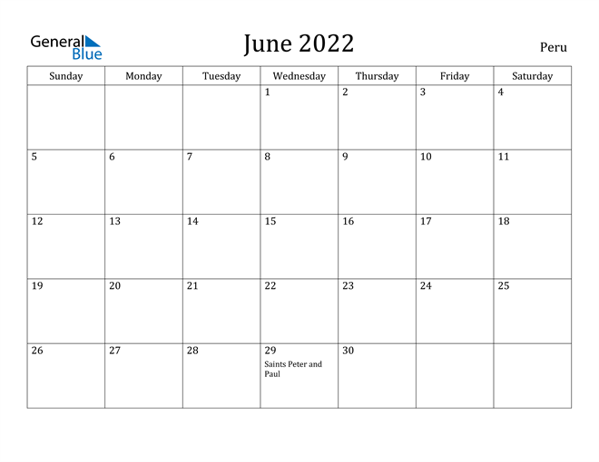 Peru June 2022 Calendar With Holidays Intended For March April May June Calendar 2022