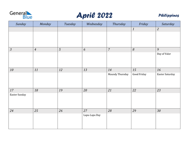 Philippines April 2022 Calendar With Holidays Within Calendars March April And May 2022 Calendar
