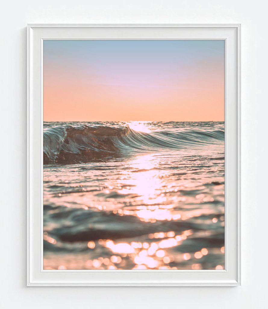 Pink Sunset Sunrise Ocean Wave Photography Print, Coastal With Regard To Sunset Sunrise Printable