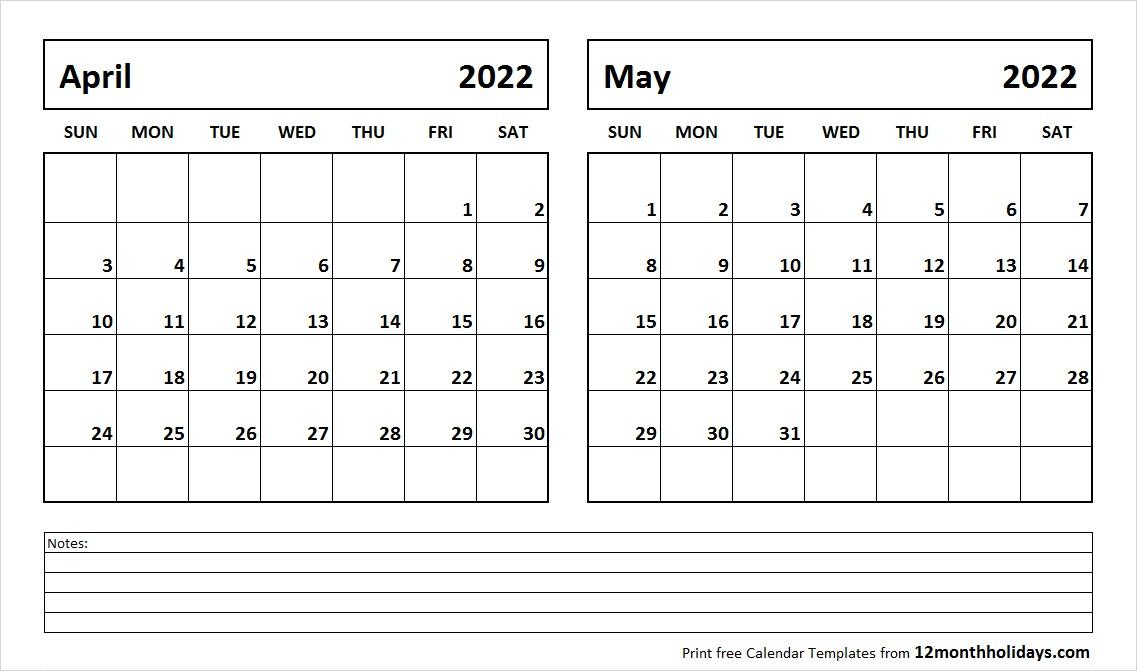 Print April May 2022 Calendar Template | 2 Month Calendar Pertaining To Print Calendar January 2022 Fillable Lines