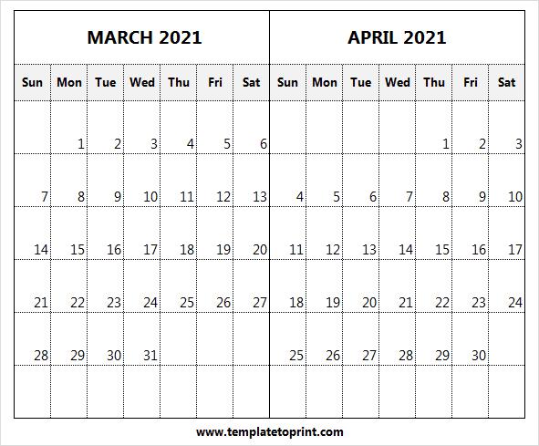 Print Calendar March April 2021 Template - Month Of Mar Regarding 2021 Calendar March April May