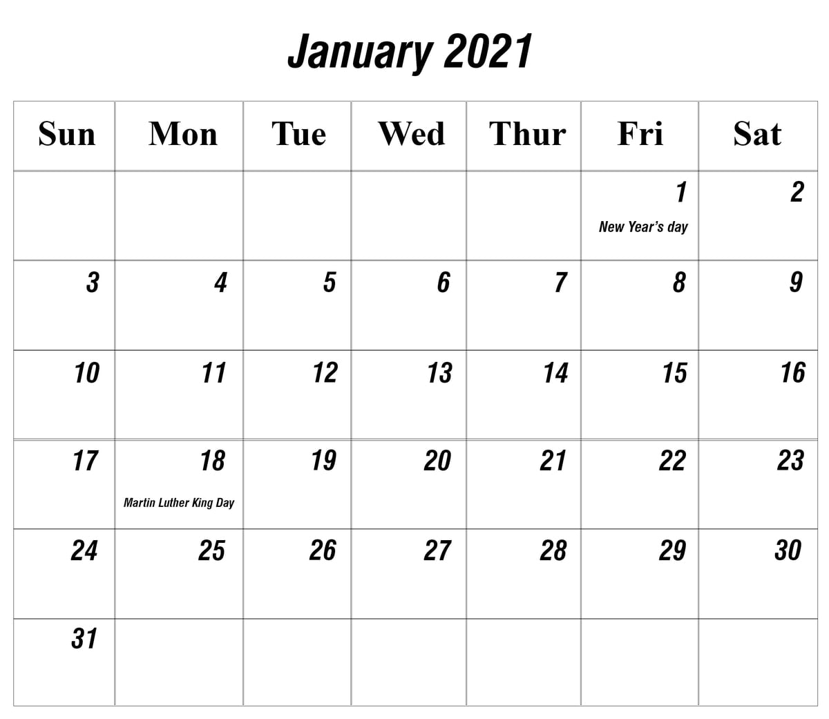 Print Free 2021 Monthly Calendar Without Downloading throughout View January 2021 Calendar