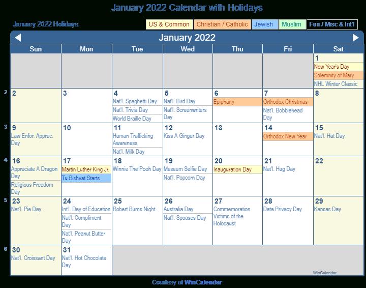 Print Friendly January 2022 Us Calendar For Printing Regarding Monthly Calendar January 2022