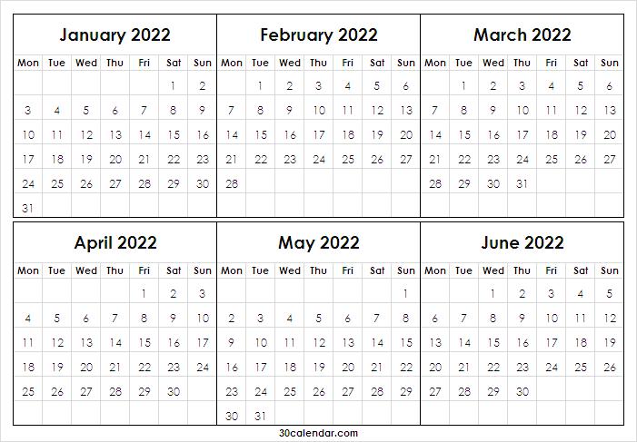 Print January To June 2022 Calendar | 2022 Printable Free With January 2022 Printable Calendar Cute