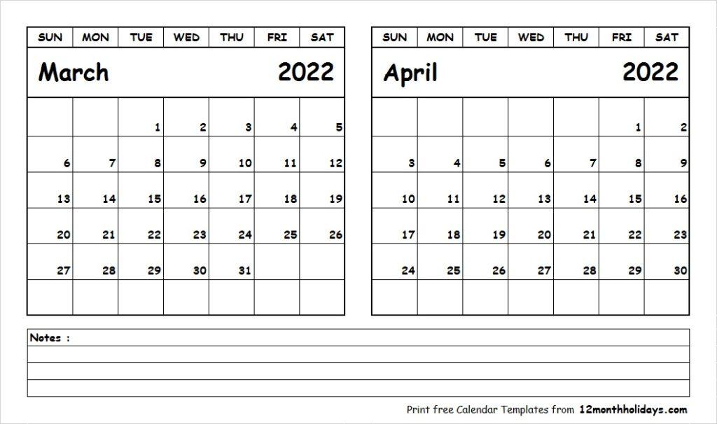 Print March April 2022 Calendar Template | 2 Month Calendar Intended For 2022 Calendar Feb March April
