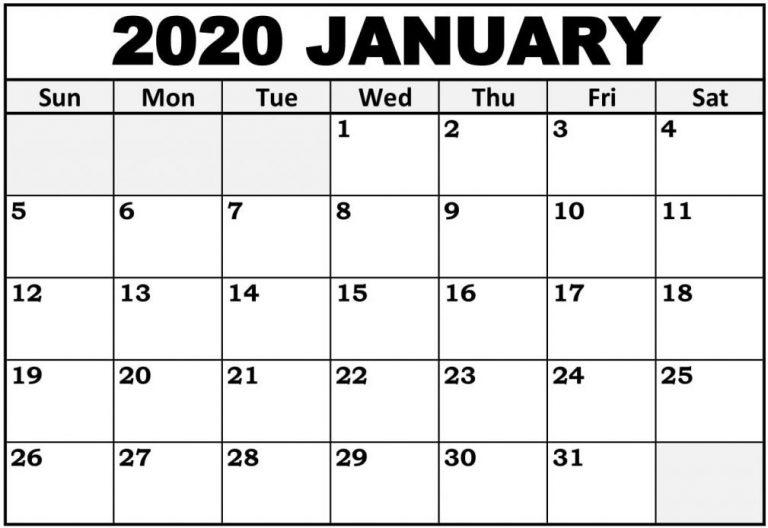 Print Monthly Calendar For January 2020 Full Size Pages Regarding Full Page January Calendar