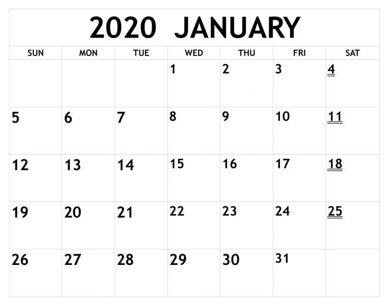 Print Monthly Calendar For January 2020 Full Size Pages With Full Page January Calendar