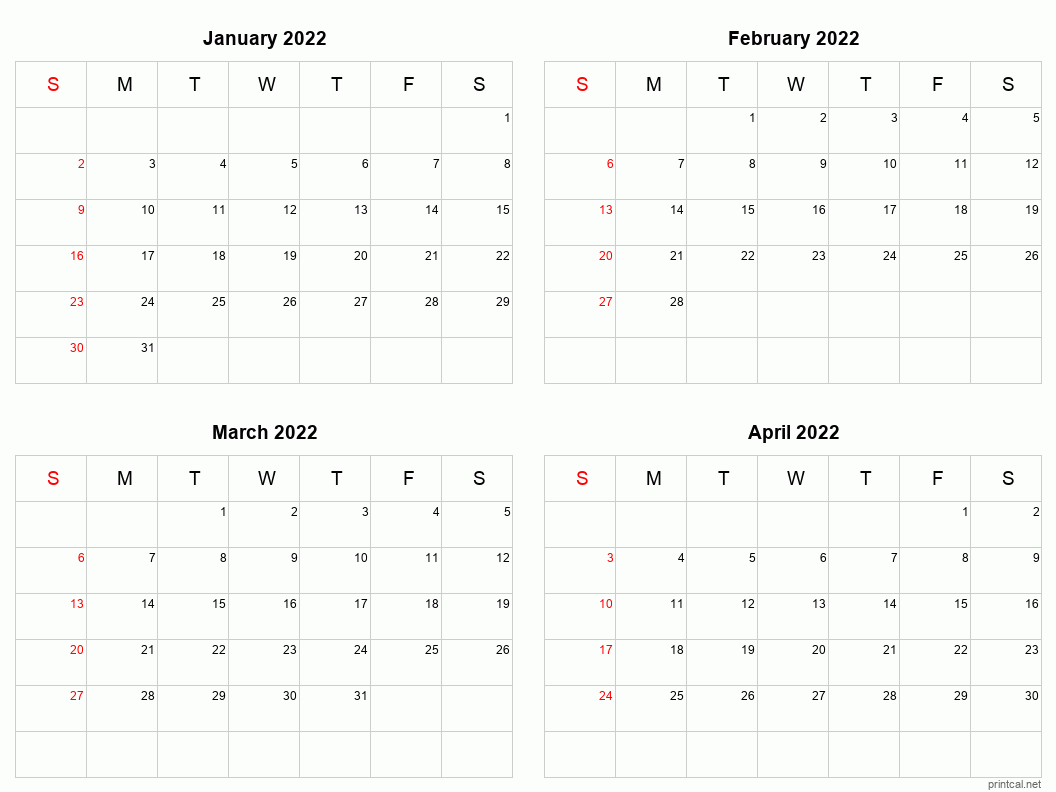 Printable 2022 Calendar – Four Months Per Page | Free With Half Page 2022 January Calendar