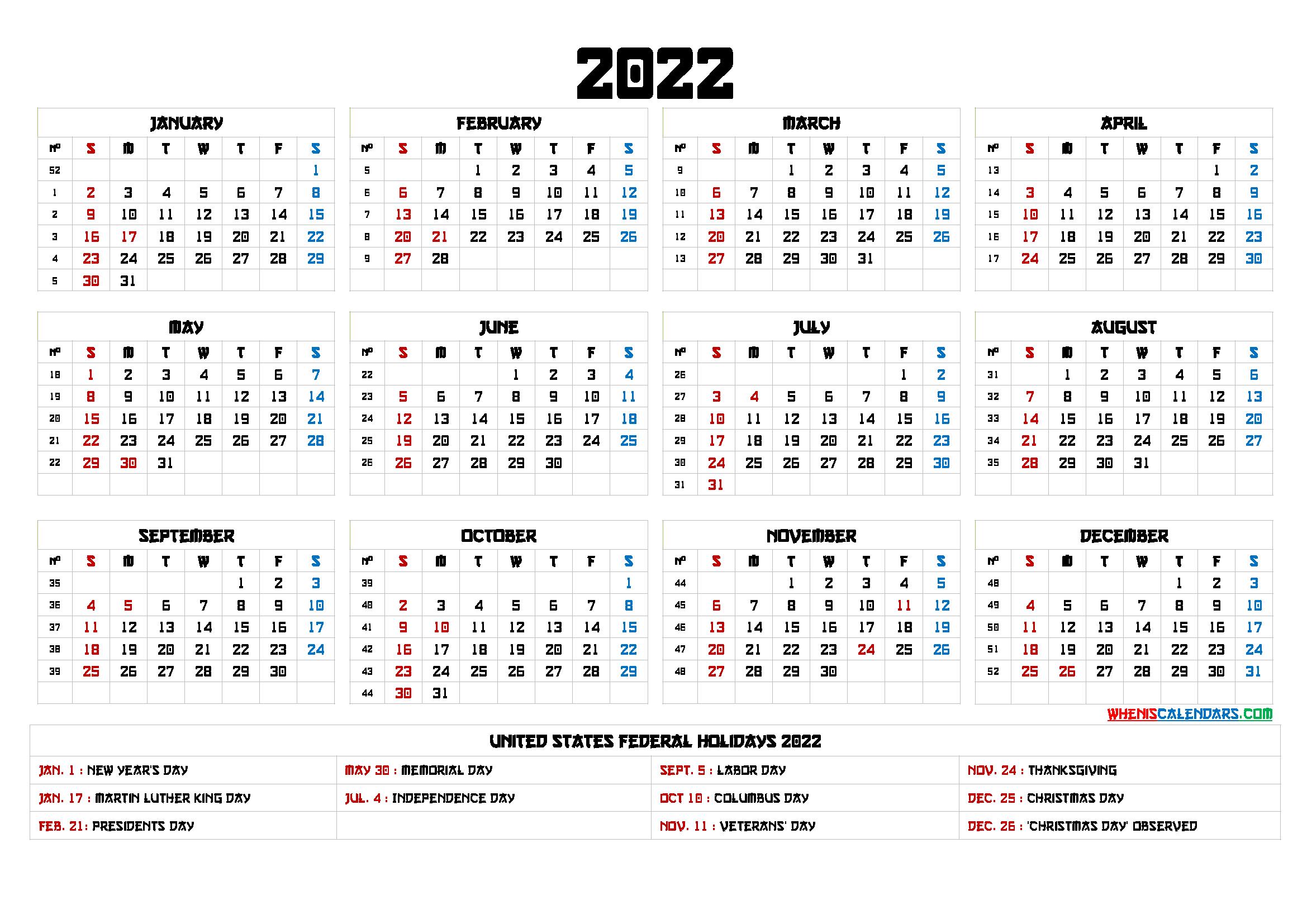 Printable 2022 Calendar With Holidays - 6 Templates with regard to Half Page 2022 January Calendar
