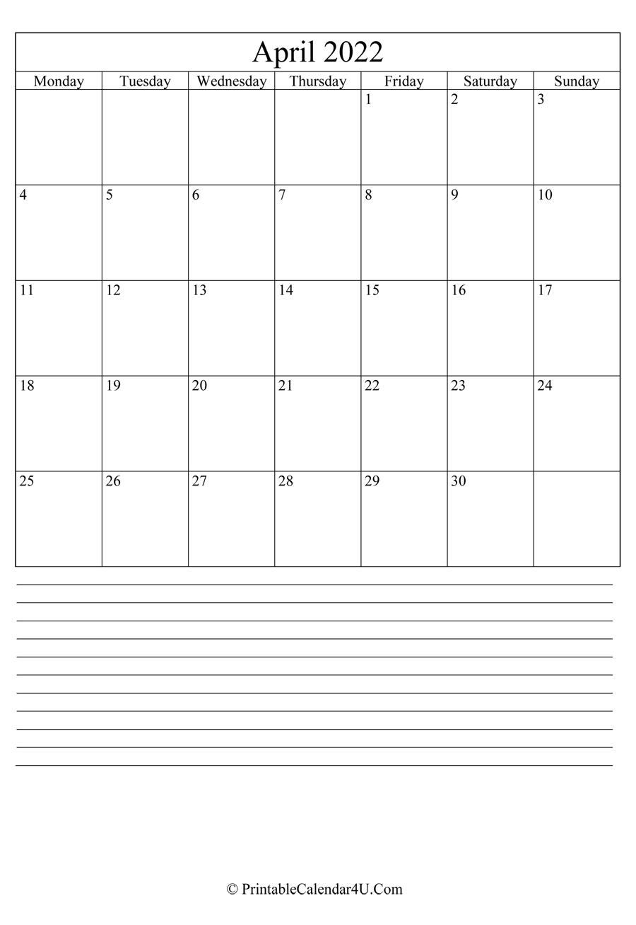 Printable April Calendar 2022 With Notes (Portrait) In March & April 2022 Calendar Free Printable