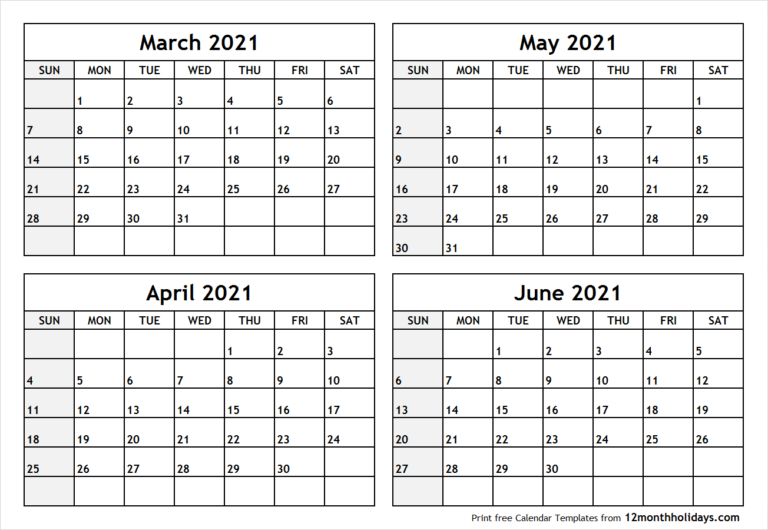 Printable Blank Four Month March April May June 2021 For Printable Calendar March April May 2021