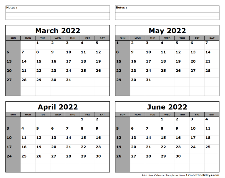 Printable Blank Four Month March April May June 2022 With Regard To 2022 Calendar March And April