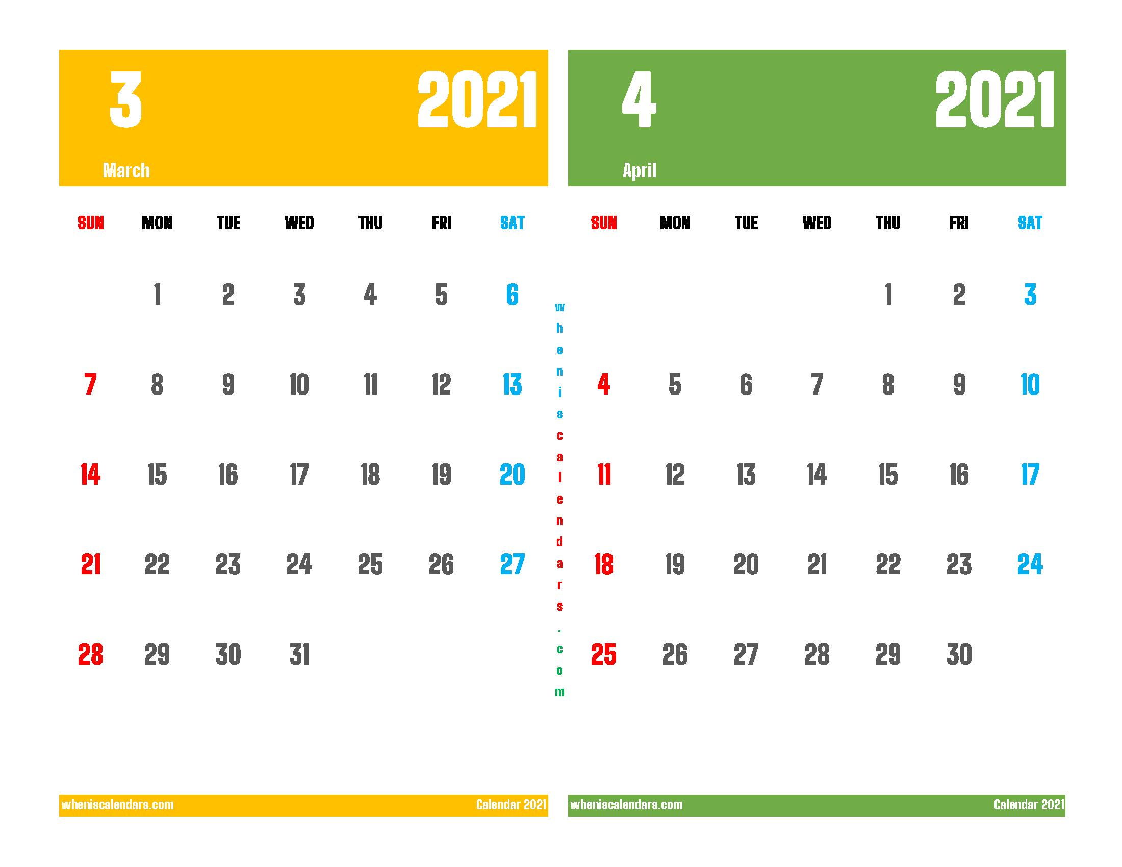 Printable Calendar 2021 March April (12 Templates) Throughout March And April 2021 Calendar