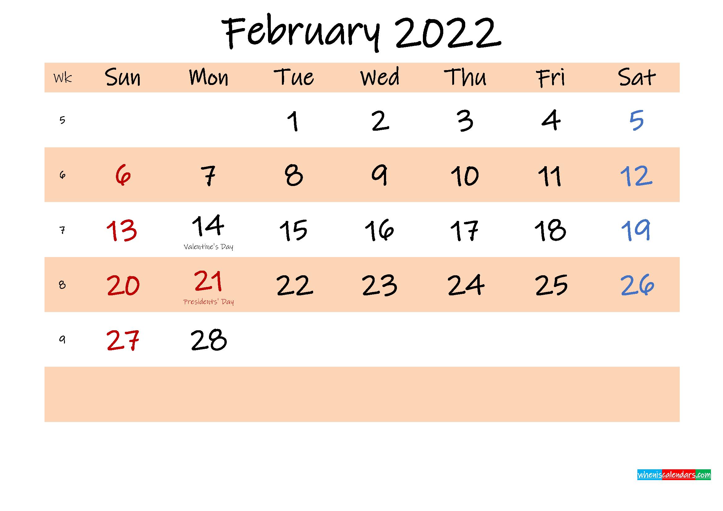 Printable Calendar February 2022 – Template No.ink22M554 For February 2022 Month Calendar Page
