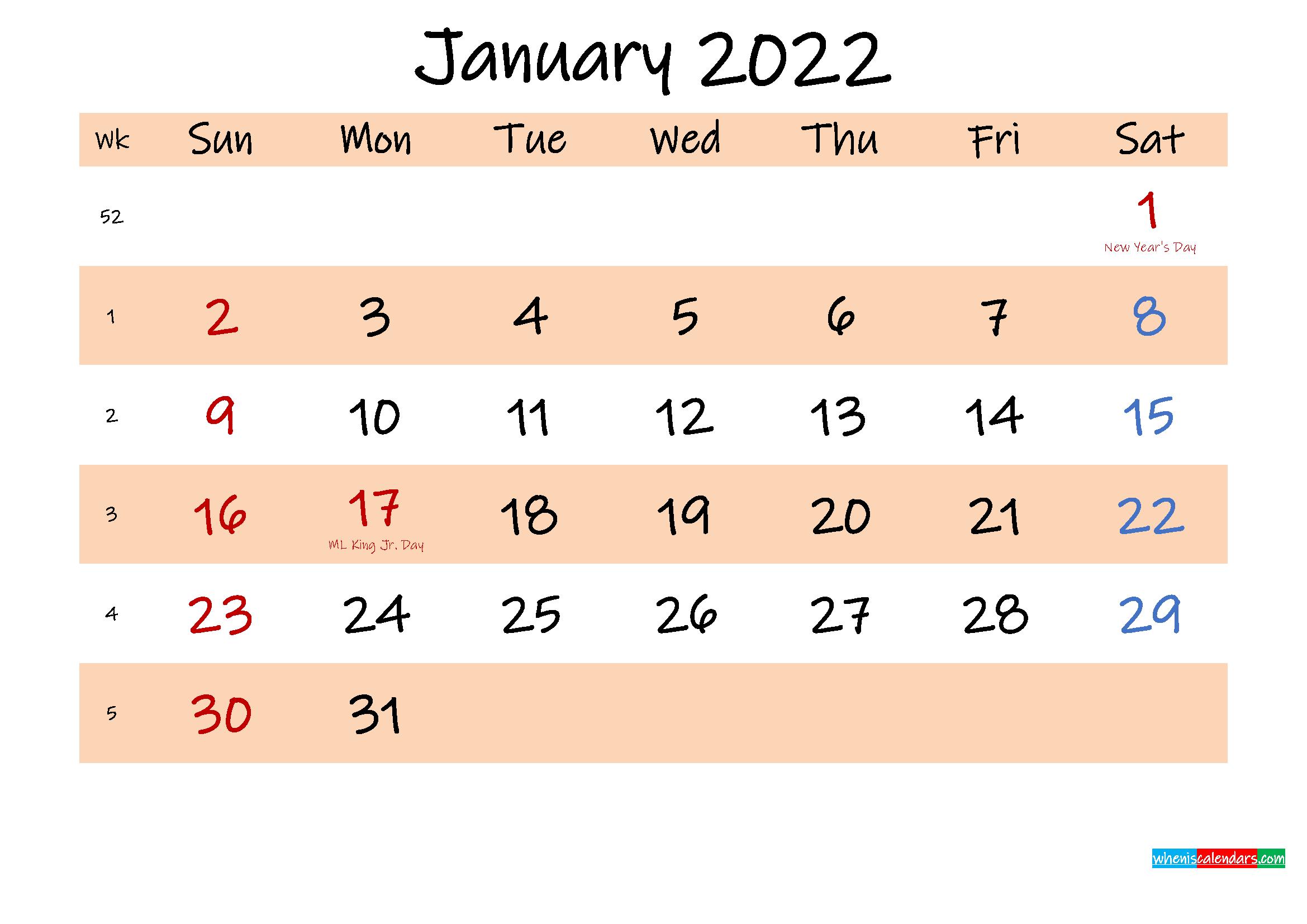 Printable Calendar January 2022 – Template No.ink22M553 Intended For 2022 January Blank Calendar