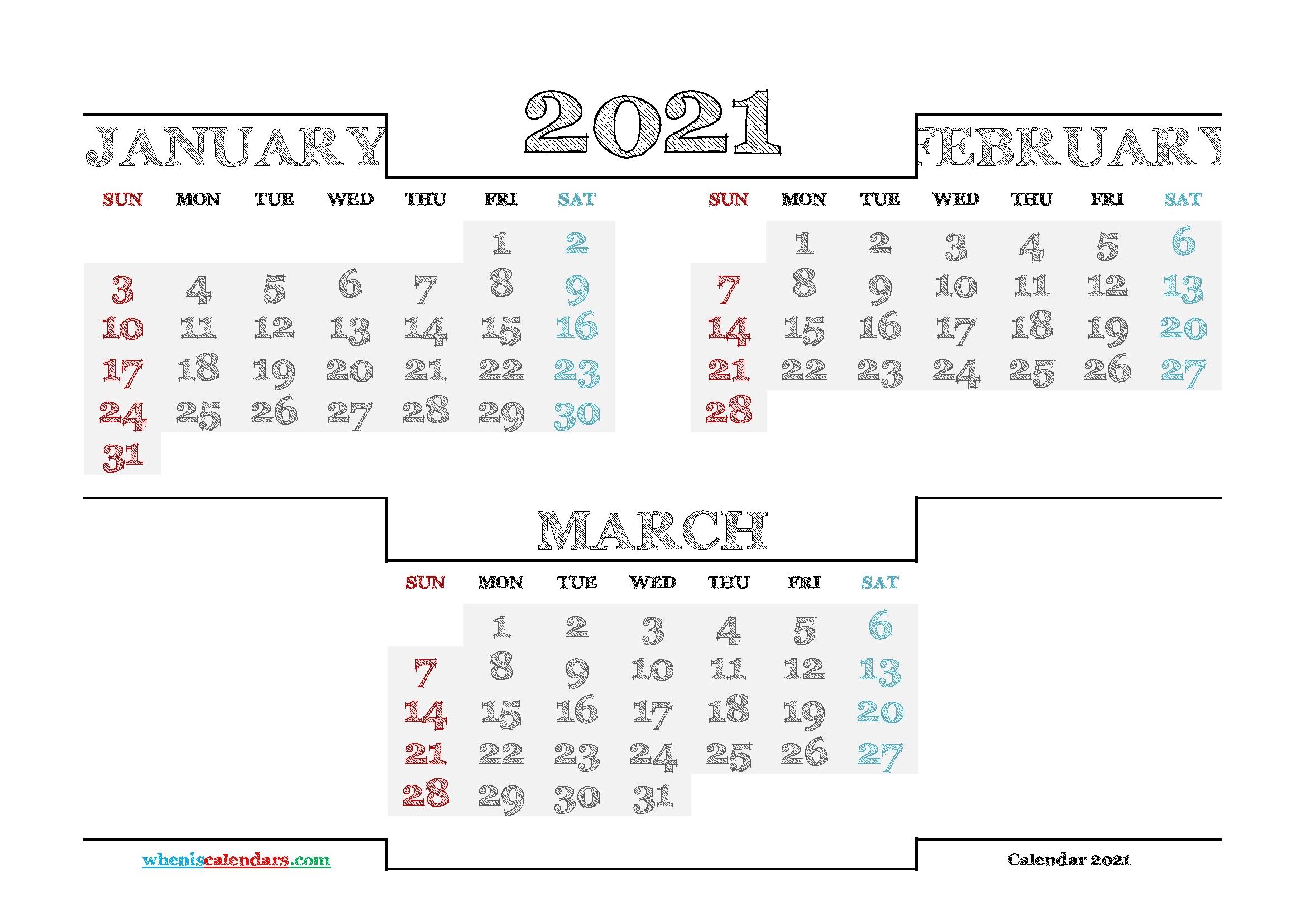 Printable Calendars For 2021 20211 2022 2023 2024 | Month inside January February March 2021 Calendar