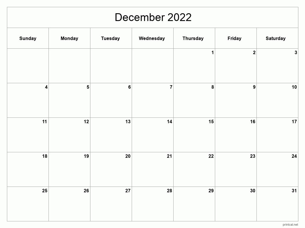 Printable December 2022 Calendar – Classic Blank Sheet With Regard To December January Calendars 2022 2022