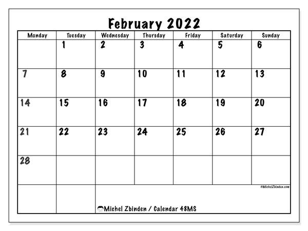 "Printable February 2022 ""48Ms"" Calendar - Michel Zbinden En For Calendar Print Feb 2022"