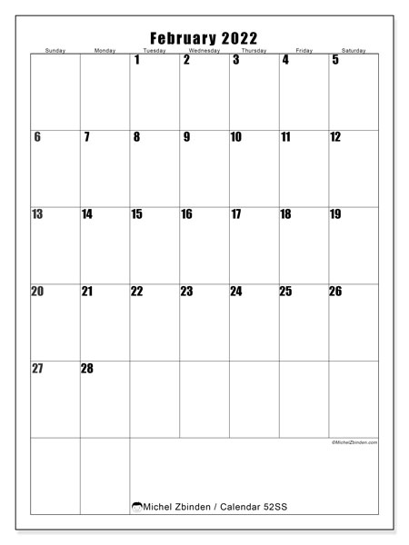 "Printable February 2022 ""52Ss"" Calendar - Michel Zbinden En For February 2022 Month Calendar Page"