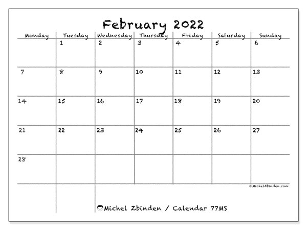 "Printable February 2022 ""77Ms"" Calendar – Michel Zbinden En Within Calendar Print Feb 2022"