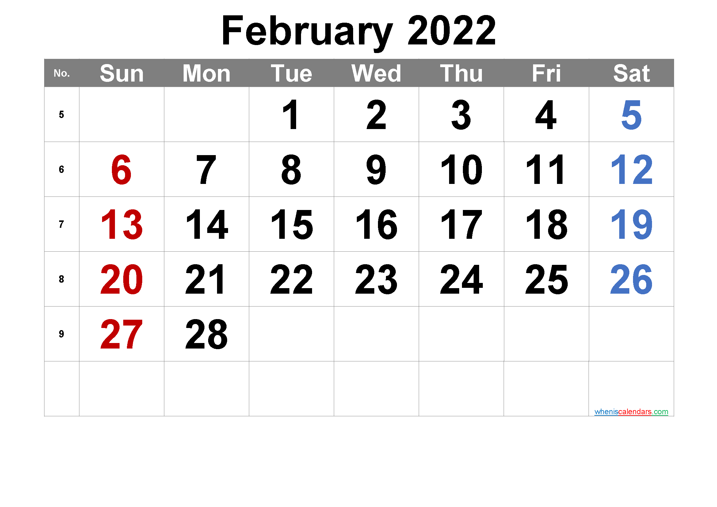 Printable February 2022 Calendar - 6 Templates | Calendar Inside Free Printable Calendar February 2022