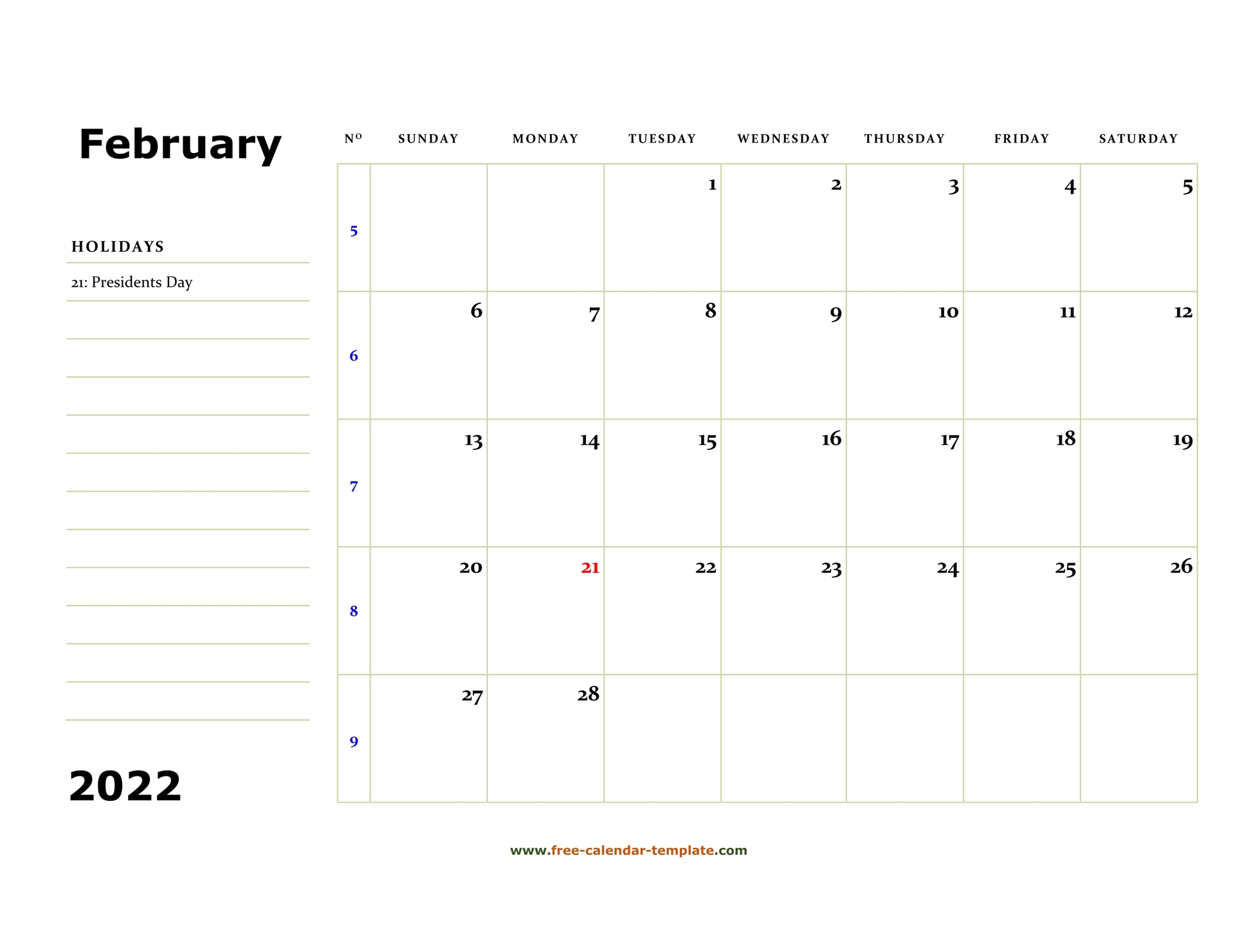 Printable February 2022 Calendar (Box And Lines For Notes Within Printable Calendar February 2022