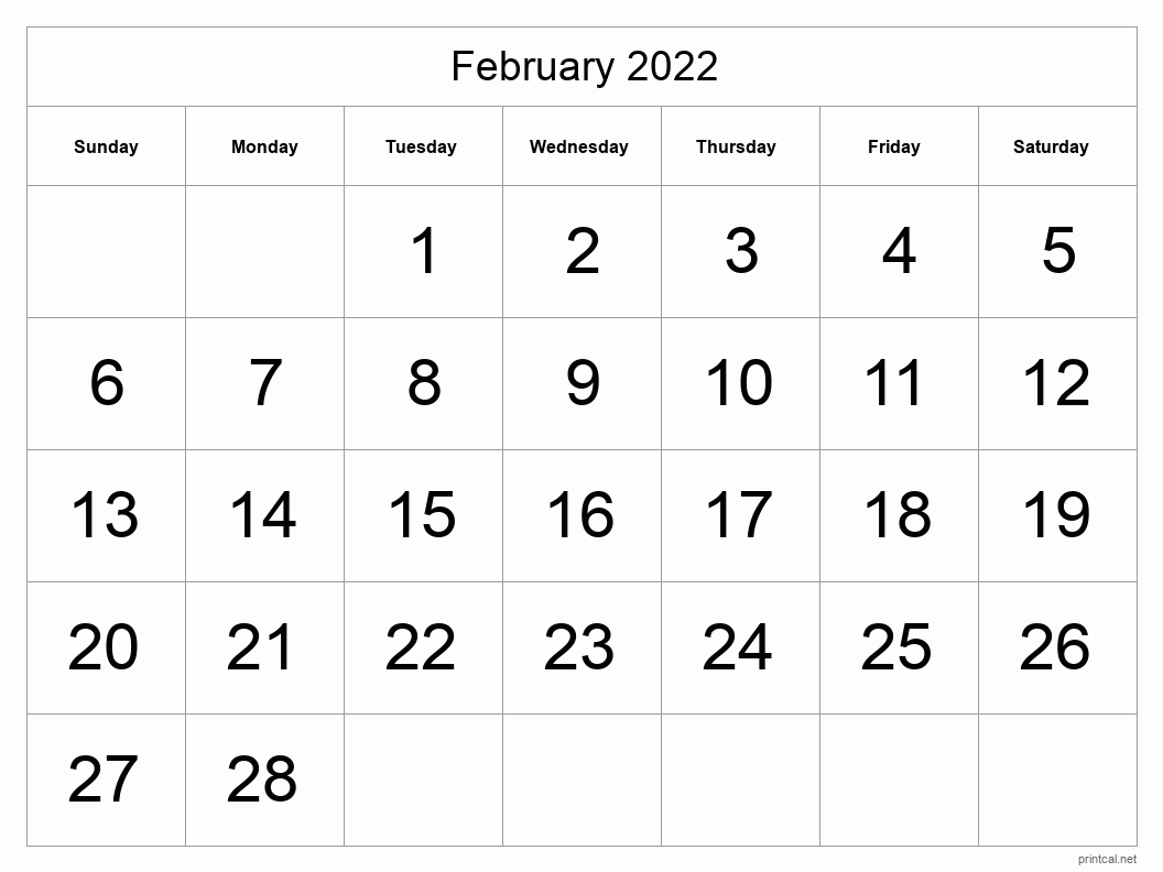 Printable February 2022 Calendar | Free Printable Calendars For Printable February 2022 Calendar