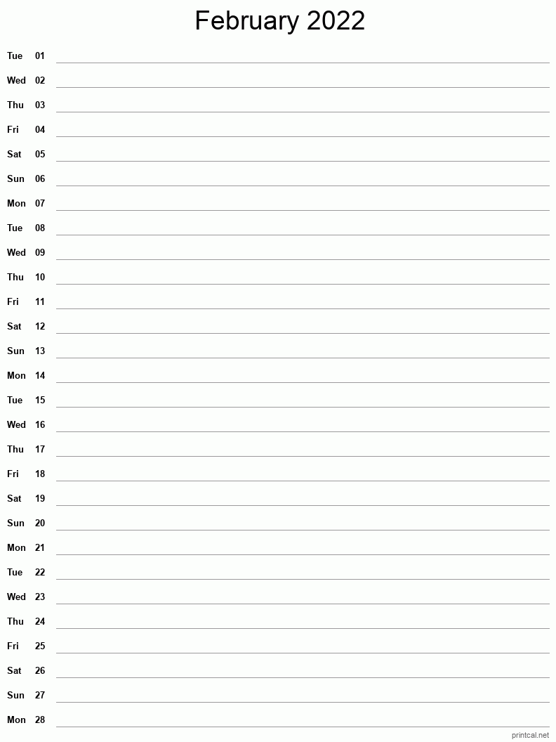 Printable February 2022 Calendar   Free Printable Calendars Inside Feb 2022 Calendar Template