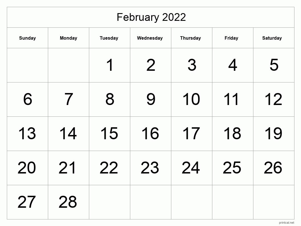 Printable February 2022 Calendar | Free Printable Calendars Throughout Free Printable Calendar February 2022