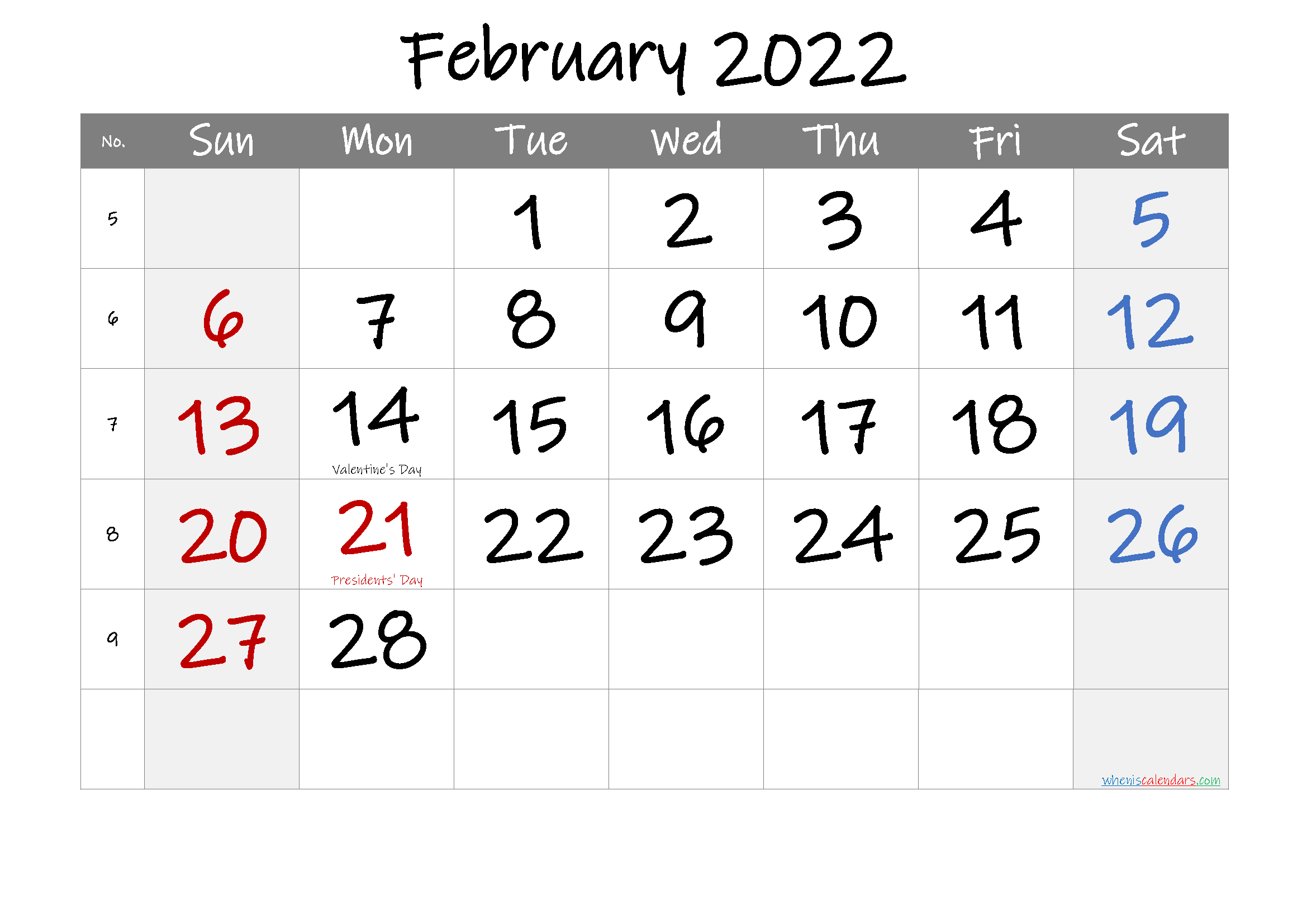 Printable February 2022 Calendar With Holidays – 6 With February 2022 Month Calendar Page