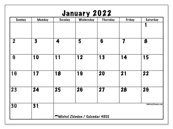 "Printable January 2022 ""48Ss"" Calendar – Michel Zbinden En With Printable Calendar October 2022 To January 2022"