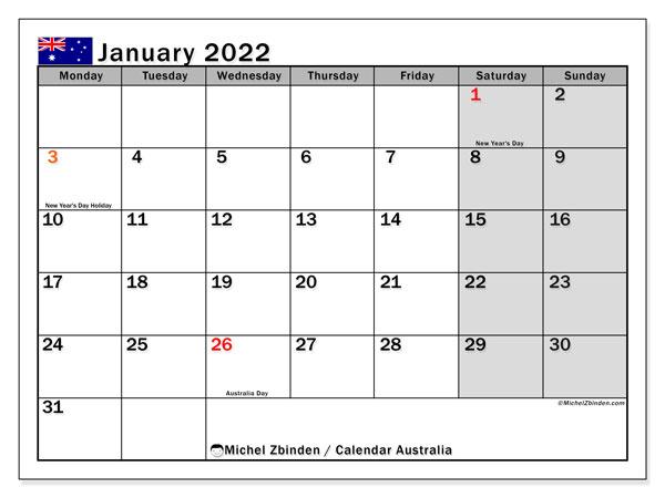 """Printable January 2022 """"Australia"""" Calendar – Michel For Januarycalendar 2022 With Holidays"""