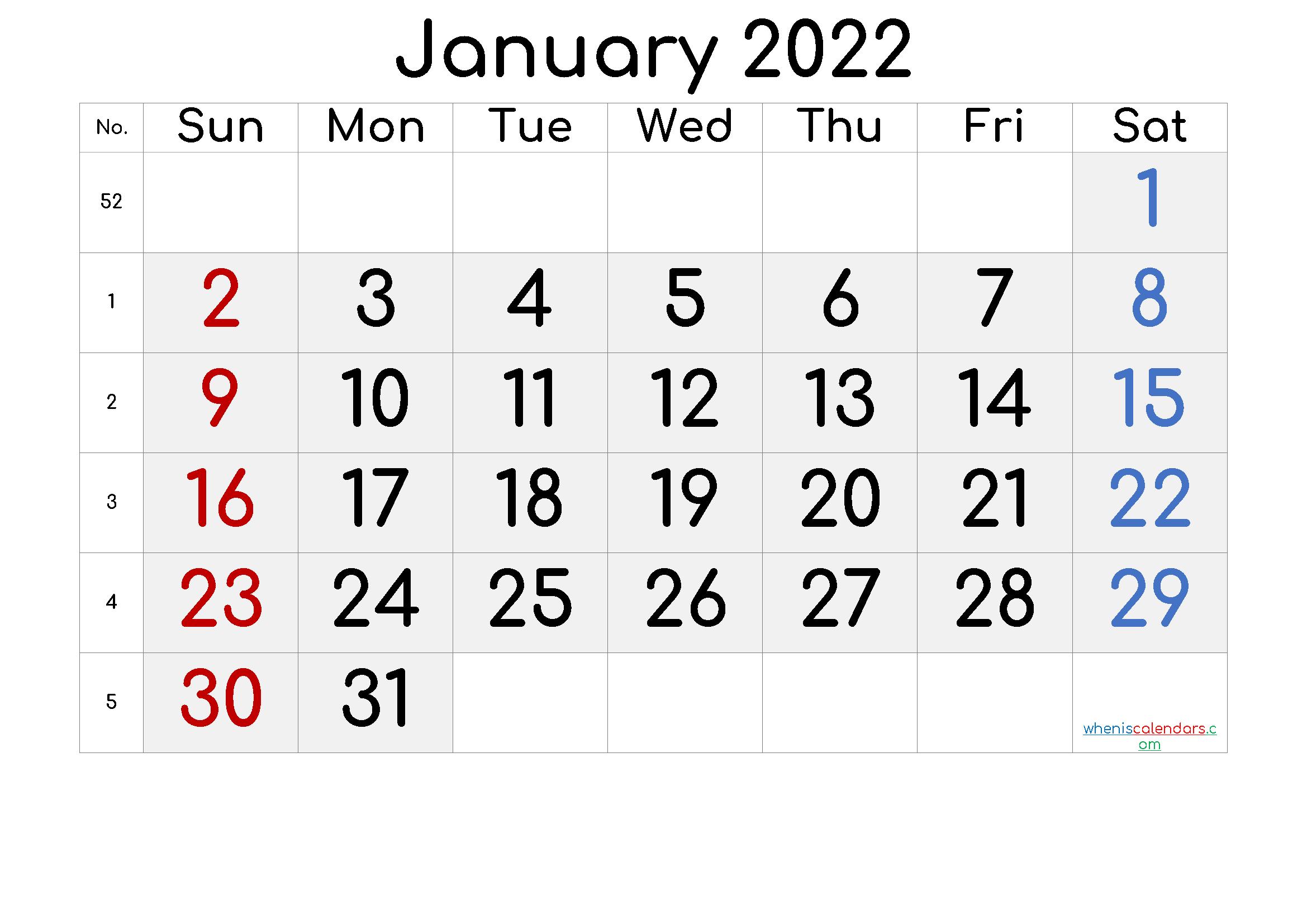 Printable January 2022 Calendar – 6 Templates | Printable Intended For Monthly Calendar January 2022