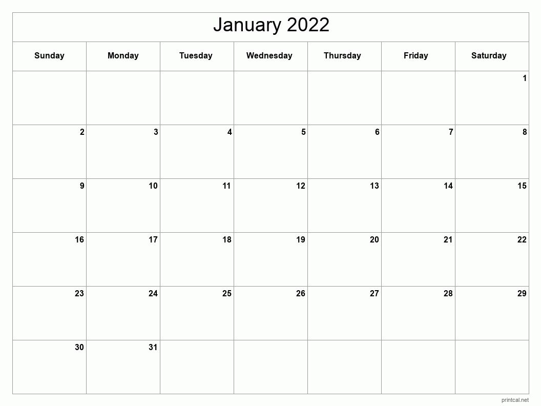 Printable January 2022 Calendar | Free Printable Calendars For January 2022 Printable Calendar