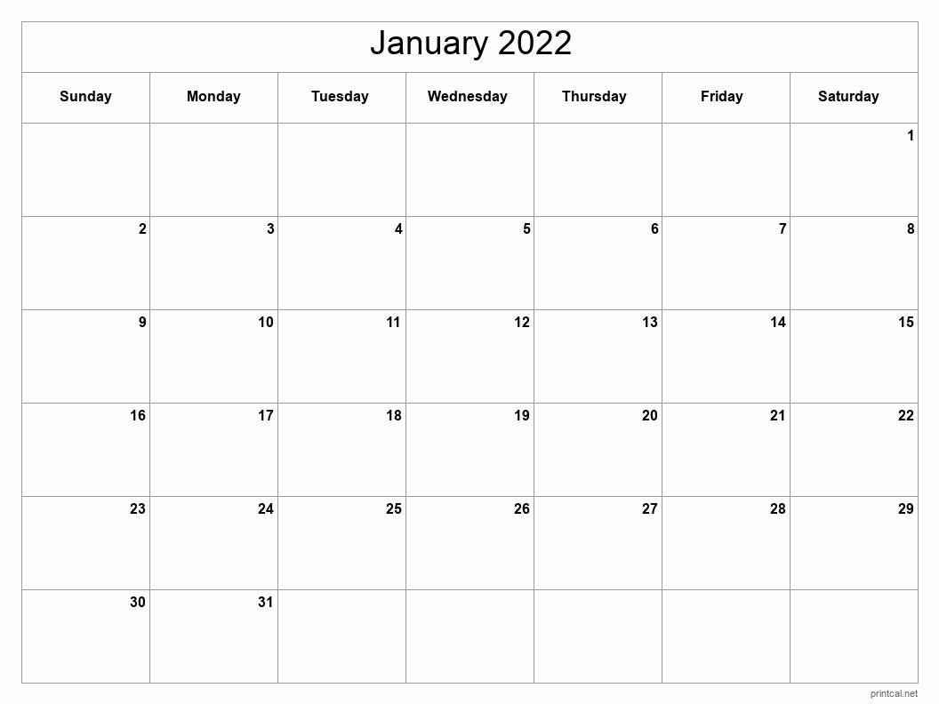 Printable January 2022 Calendar   Free Printable Calendars Intended For Printable Calendar October 2022 To January 2022