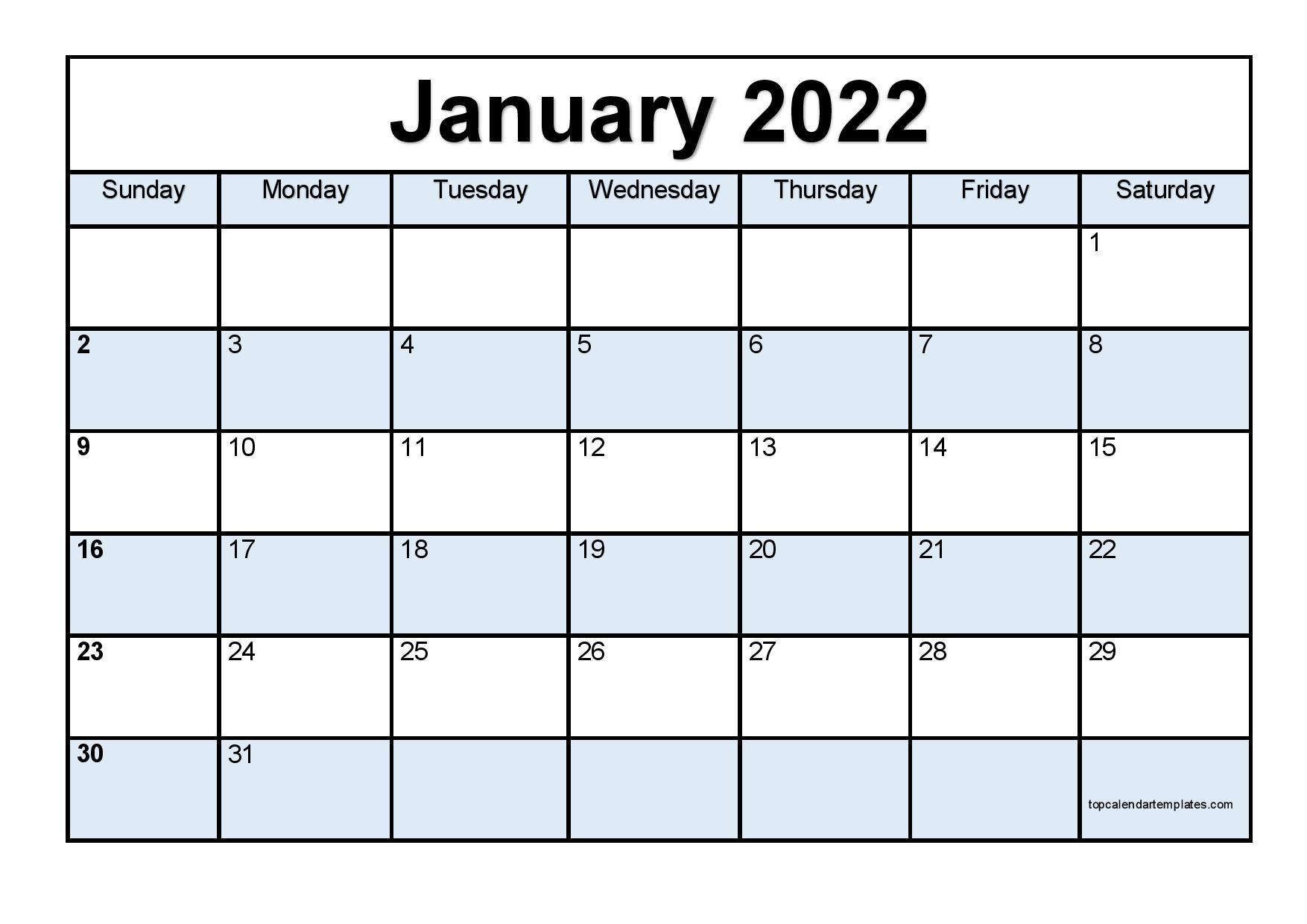 Printable January 2022 Calendar Template (Pdf, Word, Excel) For January Calendar Printable 2022