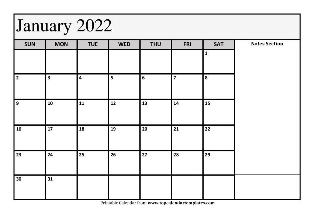 Printable January 2022 Calendar Template (Pdf, Word, Excel) In Printable January 2022 Calendar