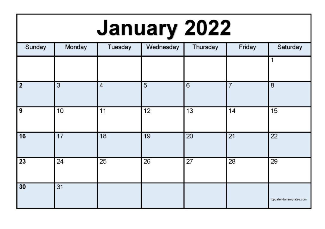 Printable January 2022 Calendar Template (Pdf, Word, Excel) Inside January Printable Calendar 2022