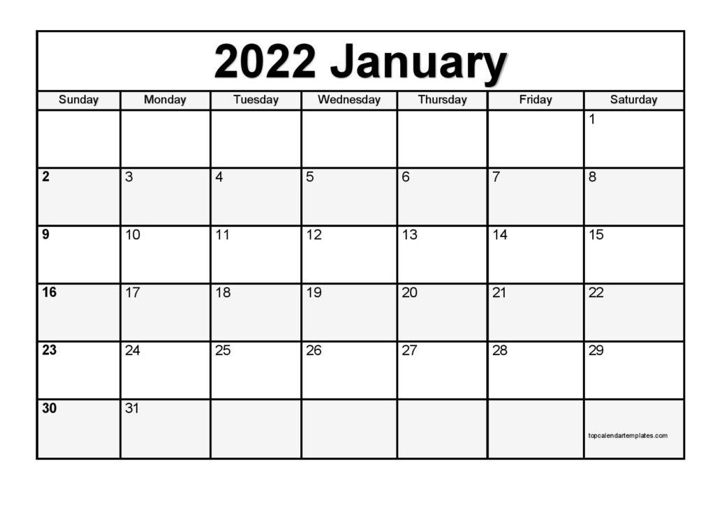 Printable January 2022 Calendar Template (Pdf, Word, Excel) Regarding Printable Calendar January 2022