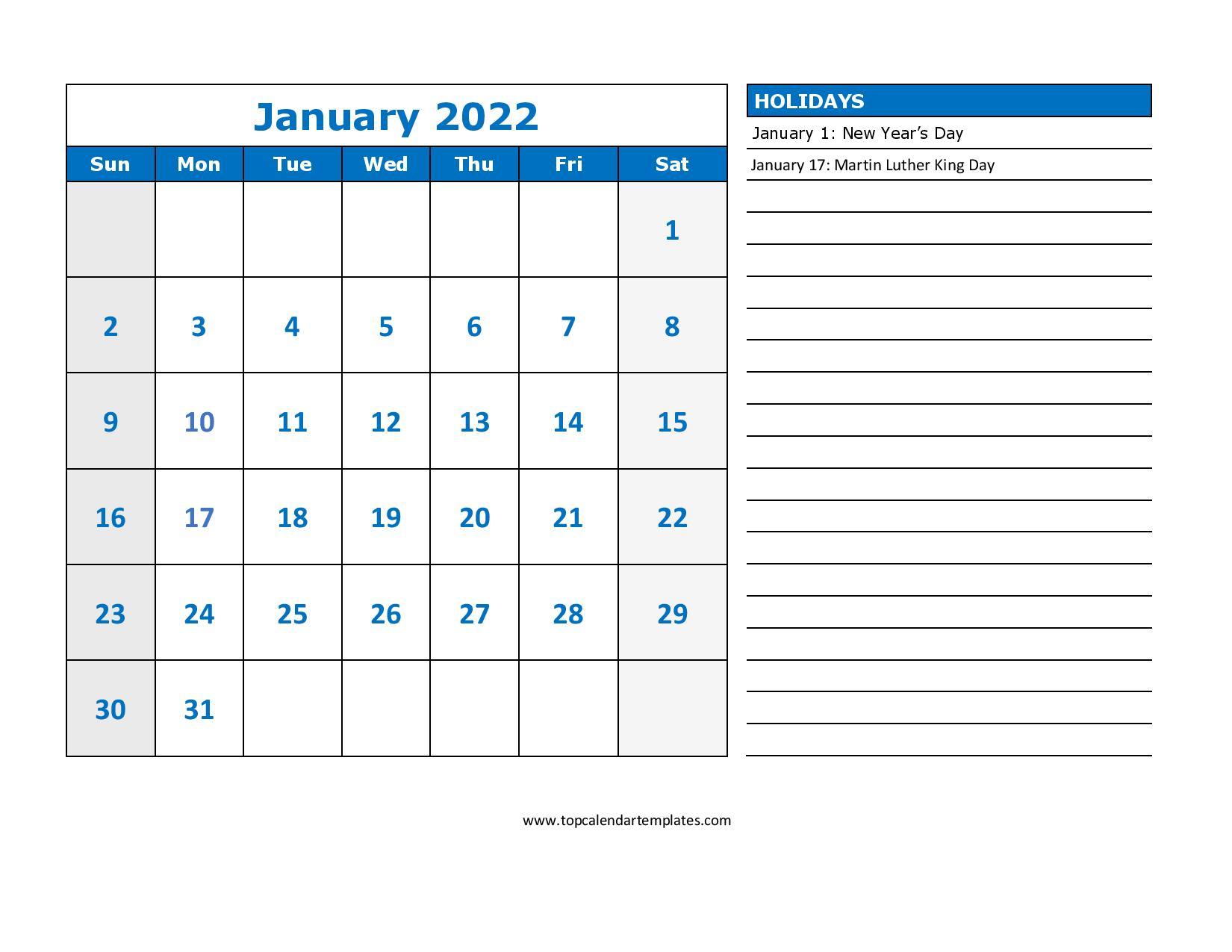 Printable January 2022 Calendar Template (Pdf, Word, Excel) Throughout January Calendar Printable 2022