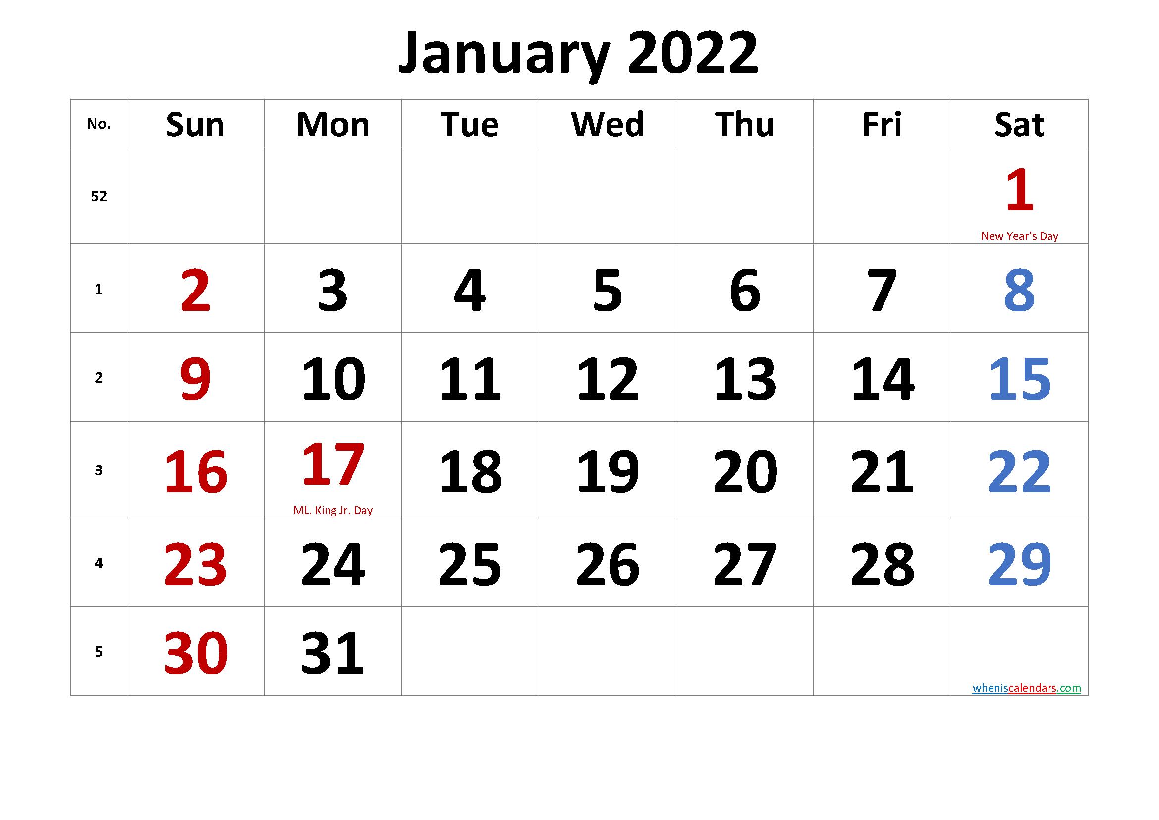 Printable January 2022 Calendar With Holidays - 6 Throughout January Calendar Printable 2022