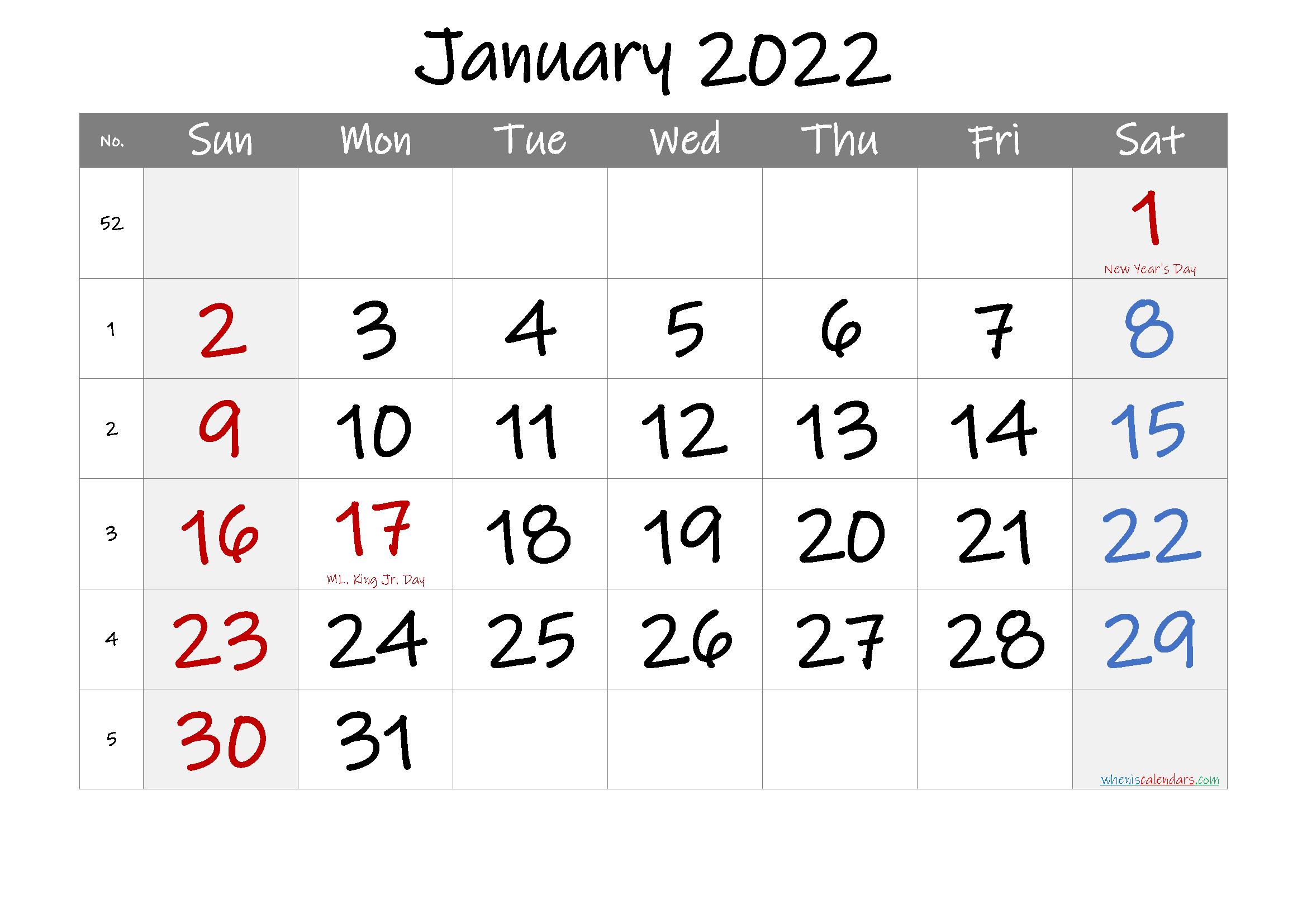 Printable January 2022 Calendar With Holidays Pertaining To January Calendar 2022 Printable