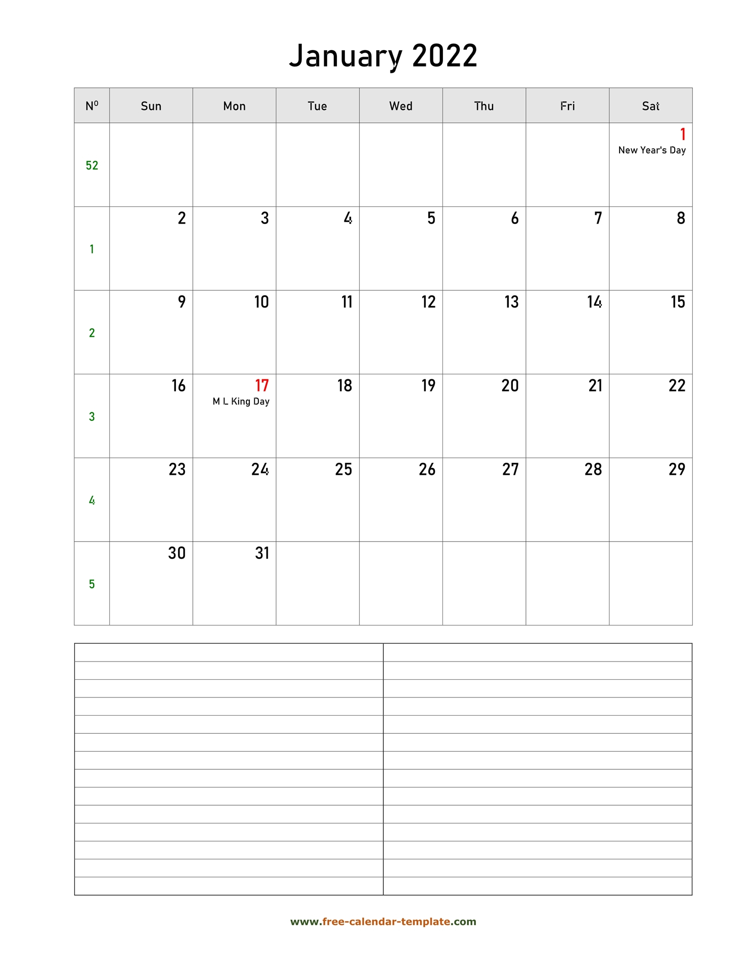 Printable January 2022 Calendar With Space For Regarding Images Of January 2022 Calendar